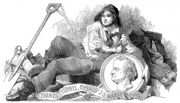 Engraving showing a worker of the Thames Tunnel Company holding a medallion of Sir Marc Isambard Brunel (1769-1849), at the opening of the tunnel between Rotherhithe and Wapping, 25 March 1843