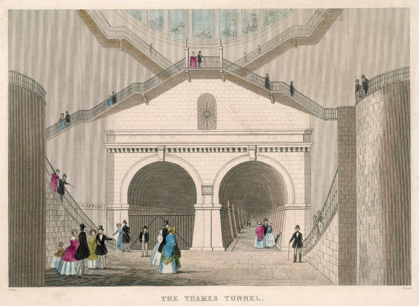 A view of the entrance to the Wapping-Rotherhithe tunnel under the Thames, the world's first underwater tunnel, completed by Marc Brunel in 1843. The tunnel was used by pedestrians from 1843 to 1865, before being converted for railway use