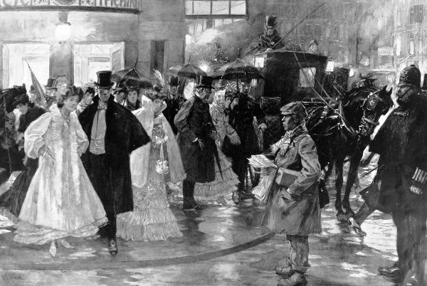 Illustration showing British theatre-goers rushing to their carriages after the end of their play, Strand, London, 1907
