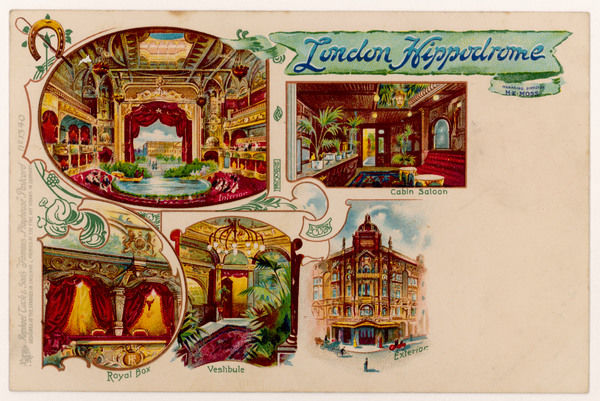 Some interior views of the Hippodrome, London, including the vestibule, the Cabin Saloon and the Royal Box