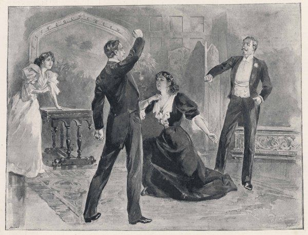'A WOMAN OF NO IMPORTANCE' Mrs Arbuthnot (Mrs Beere) tells Gerald that the man he's about to strike is his own father (Tree) : first production at the Haymarket Theatre