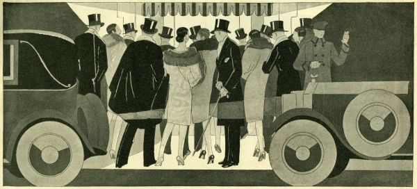 Theatregoers. Artist: Anon. Art Deco image of theatregoers arriving for the show in their cabs Date: circa 1926
