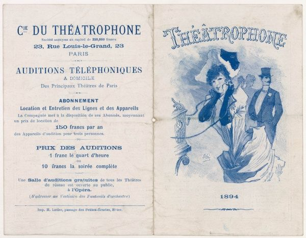 Thanks to the theatrephone, a Parisienne could listen to Verdi's 'Falstaff' or the 'Oedipus Rex' of Sophocles, live from the theatres