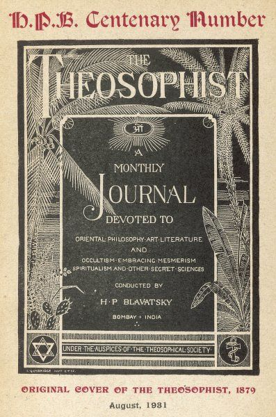 'THE THEOSOPHIST' cover of the first number of Madame Blavatsky's house journal
