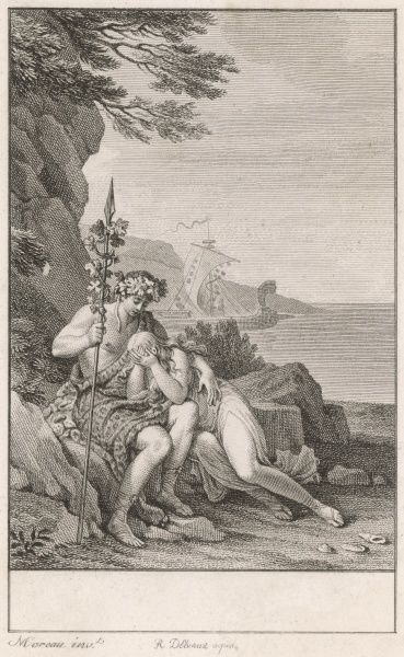 Ariadne, daughter of Minos, king of Crete, helps Theseus overcome the Minotaur, and then accompanies him to Naxos, where he deserts her - here he says goodbye while she weeps