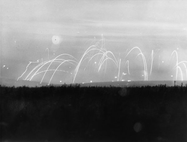The early morning sky is lit up by the bombardment of enemy lines before the assault on Thiepval during the Battle of Flers-Courcelette