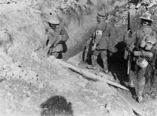 German prisoners are brought in during the Battle of Thiepval Ridge, part of the Battle of the Somme