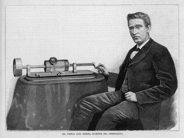 THOMAS ALVA EDISON With his Phonograph. Date: 1847 - 1931