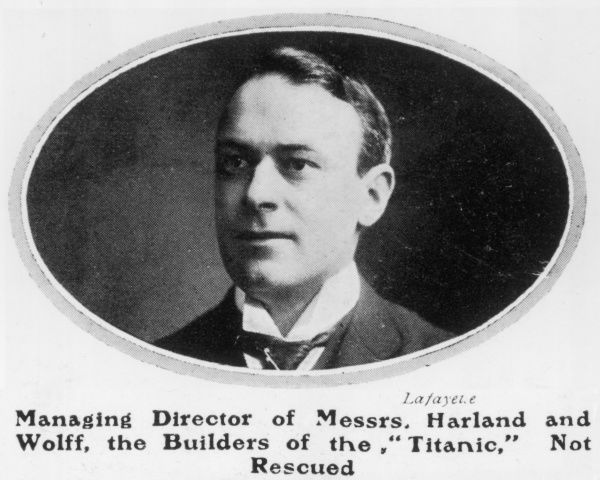 A portrait of Thomas Andrews, Managing Director of Messrs Harland and Wolff, the builders of the Titanic