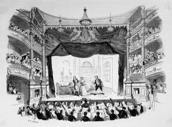 The first performance at the Opera Comique in Paris : the stage seems tiny compared with those generally used for opera
