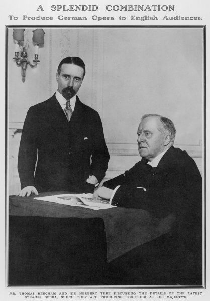 The English Actor-Manager Herbert Beerbohm Tree (seated), pictured with Sir Thomas Beecham, English conductor and impresario together in Tree's study at His Majesty's Theatre in London