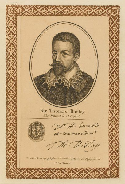 SIR THOMAS BODLEY - scholar, statesman and diplomat, best known for his reformation of the public library at Oxford, now named for him. with his autograph