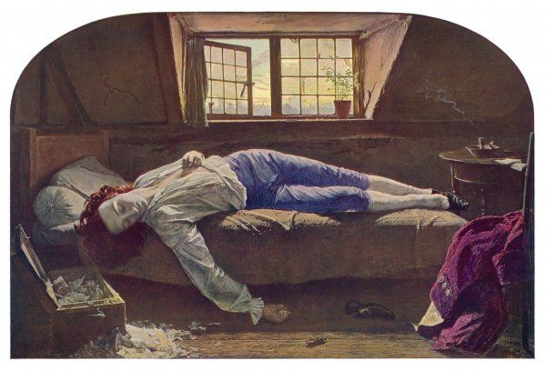 THOMAS CHATTERTON The young English poet lies dead, having taken arsenic