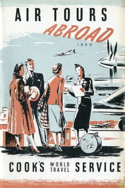 Poster from the 1950s for Thomas Cook holidays by air. Date: 1950s