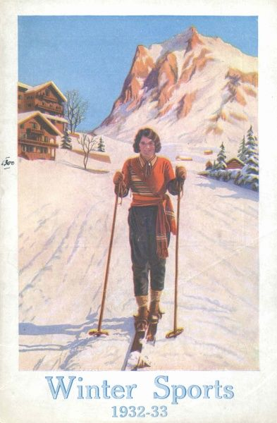 Cover illustration for Thomas Cook's Winter Sports, 1932-33, showing a lady in winter sports clothes on skis, going downhill. In the background is a snowy alpine scene with chalets, trees and a mountain
