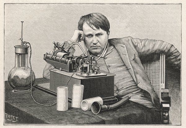 THOMAS ALVA EDISON Listening to the first phonogram sent to New York from England