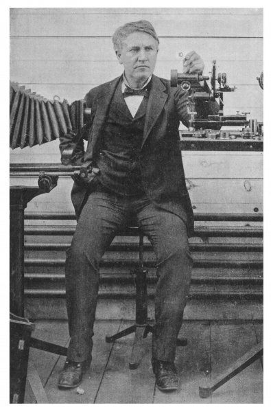 THOMAS ALVA EDISON With his camera equipment in 1893