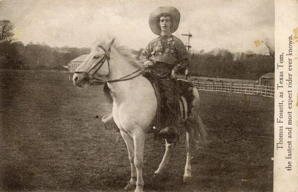 "Thomas Fossett - Texas Tom - Rodeo Rider - ""the fastest and most expert rider ever known."" Date: circa 1920"