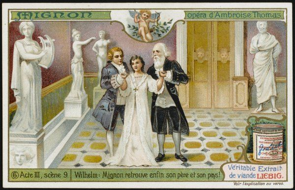 Act 3 scene 9 : Mignon recognises the Italian castle whence she was kidnapped, Lothario is her father, and all ends happily
