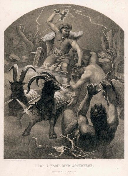 The god Thor fights the giants (the Jotun or Jotune) from his chariot with his hammer, thunder & lightning
