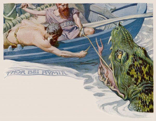 Thor and Hymir go fishing for the World Serpent : they catch it, but Hymir, terrified, cuts the line, for which Thor, not unreasonably, kills him
