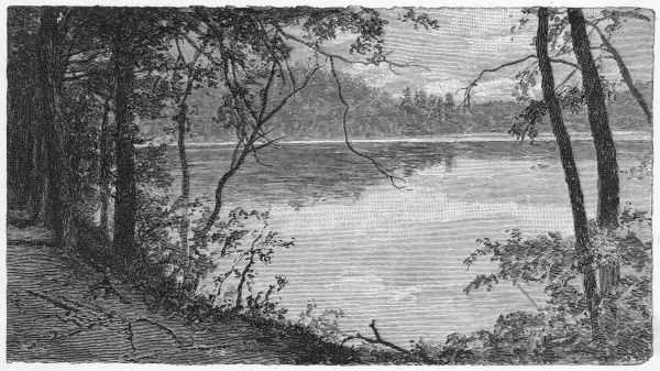 Walden Pond, where the American writer Thoreau spent two years studying nature and thinking deep thoughts. His cabin was built on land owned by Emerson near Concord
