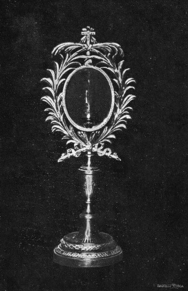 A finger of the Apostle Saint Thomas. Displayed in a reliquary at Santa Croce (Church of the Holy Cross of Jerusalem) in Rome, Italy. Date: circa 1910s