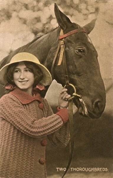 Two Thoroughbreds - a pretty young woman and her favourite horse Date: circa 1910s