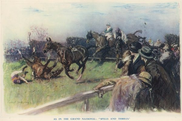 A dramatic illustration by equestrian & sporting artist, Gilbert Holiday showing the thrills and perils of the annual Grand National Steeplechase at Aintree