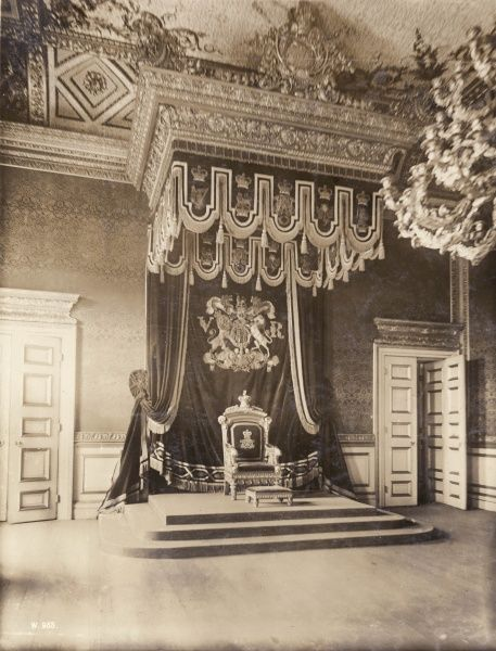 The throne of England in the Throne Room at St James's Palace, Central London