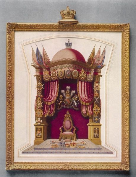 "The throne of King George IV by T. Dowse, 'inventor of the burnished raised gold and silver in imitation of the ancient missal"" presented in a gilt frame"
