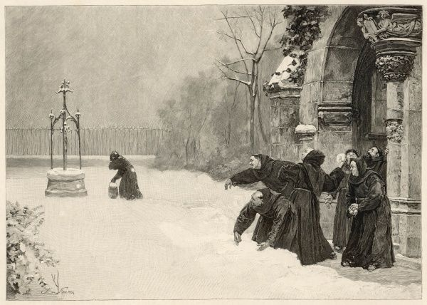 A group of cheeky monks, step outside of their monastery to throw snowballs and unsuspecting passers-by