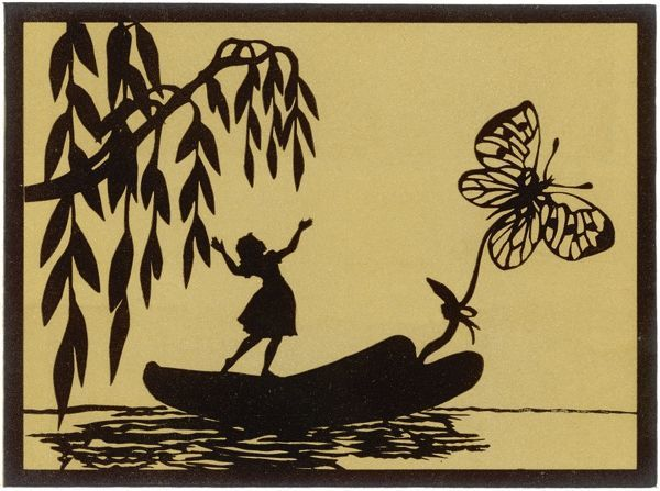 Thumbelina, standing on a leaf, is drawn downstream by a butterfly. Illustration to a fairytale by Hans Christian Andersen, first published 1835