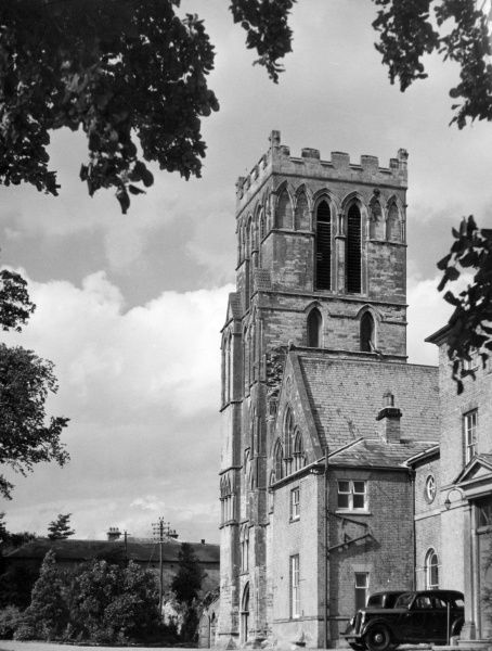 The tower of the Priory Church at Thurgaton, Nottinghamshire, England. What remains dates from c. 1230. The church was restored 1852 - 1853 by T.C. Hine of Nottingham. Date: 13th century