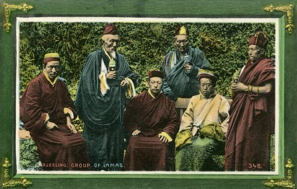 A group of Tibetan Lamas in Darjeeling, India. A Lama is the title for a Tibetan teacher of the Dharma