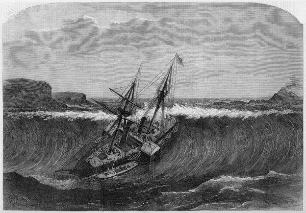 A tidal wave, following an earthquake, hits the steamship 'La Plata' off the island of St Thomas, West Indies