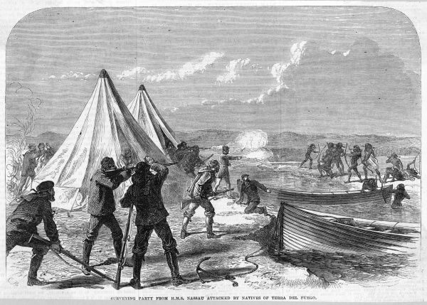 A surveying party of British sailors from HMS 'Nassau' are attacked by natives of Tierra del Fuego, which is divided between Argentina and Chile