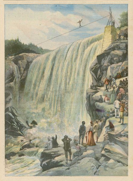 Hardy, a well-named American, crosses the falls at Sault- Montmorency, near Quebec, Canada, performing feats for an hour