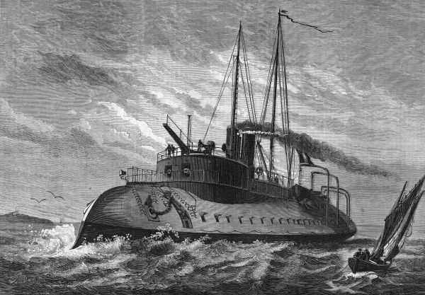 An aggressive-looking vessel of the French navy intended for coast protection - she looks like she'd scare most would-be invaders away... Date: 1874