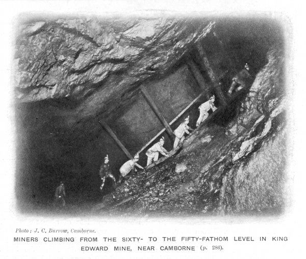 Miners climbing from the sixty- to the fifty-fathom level in King Edward's mine, near Camborne, Cornwall