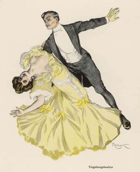 The 'TINGEL-TANGEL WALZER' (= roughly, honky-tonk waltz) is a far cry from the relatively sedate dance of the 19th century ballroom, though even then it caused a scandal