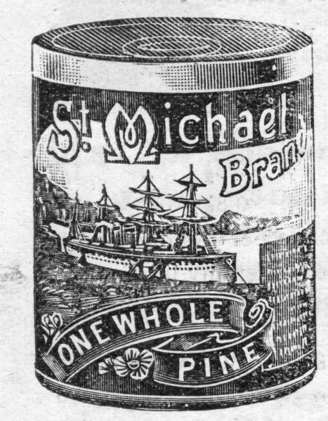A can of St Michael brand Pineapple