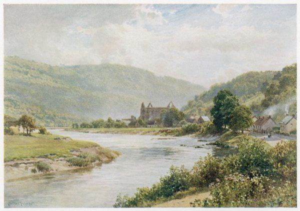 Tintern Abbey, Monmouth, with the river Wye