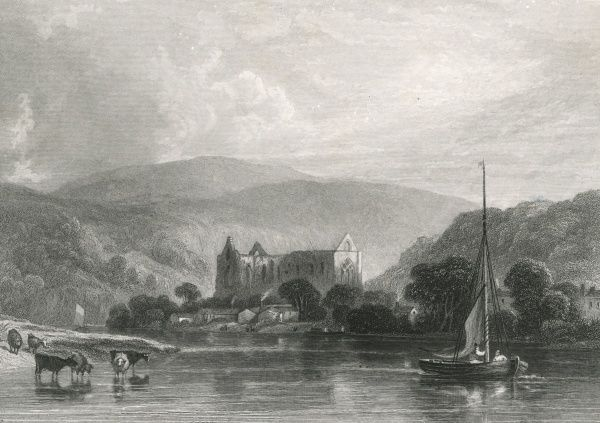 A view of the ruins of the Abbey across the river Wye Date: circa 1835