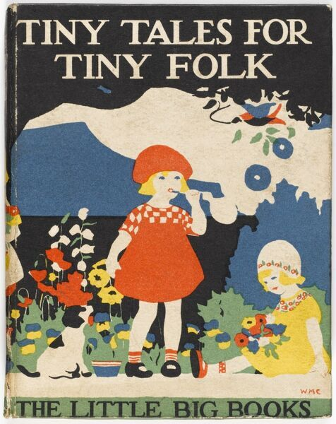 Bold and colourful front cover of a children's book from the 1920s showing two small little girls sat by a herbaceous border in a garden