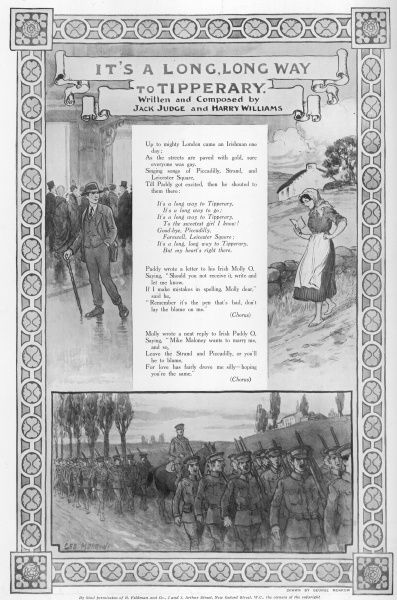 "Illustrated lyrics to the popular First World War tune, ""It's a Long, Long Way to Tipperary"" featuring bands of soldiers marching off to war"