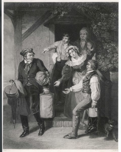 The traveller has paid his bill and leaves the inn, only to find that every man and woman's hand is raised against him