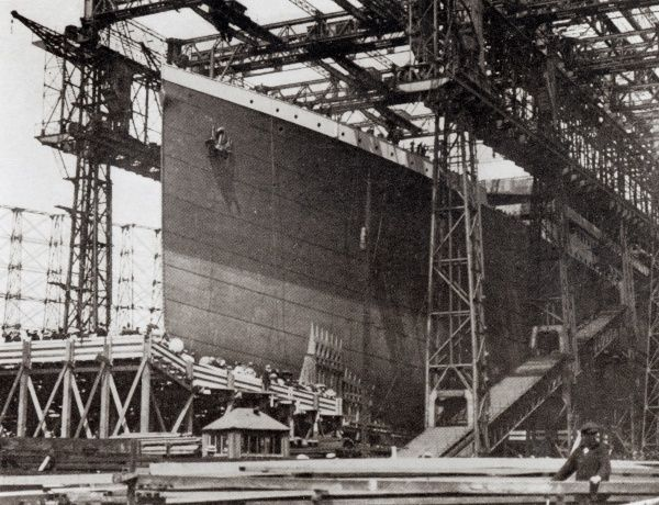 Photograph of the ship while under construction in 1911