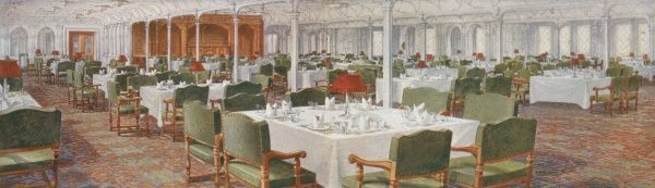 The dining saloon of the ill-fated passenger liner, RMS Titanic showing the various tables immaculately set ready for dinner