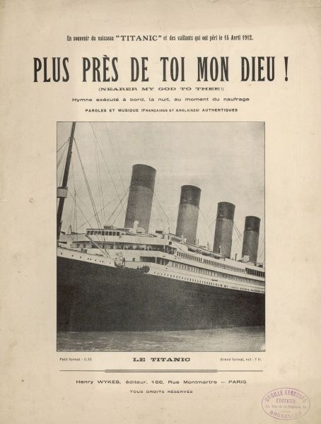 A photograph of the ship on the cover of a French music sheet: the hymn was played by the band on deck as the ship sank